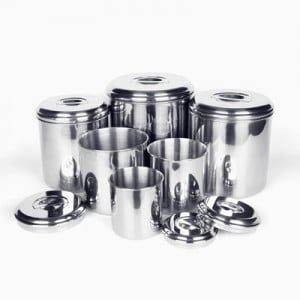 Stainless steel food storage canisters
