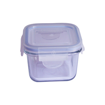 Large square glass food storage container