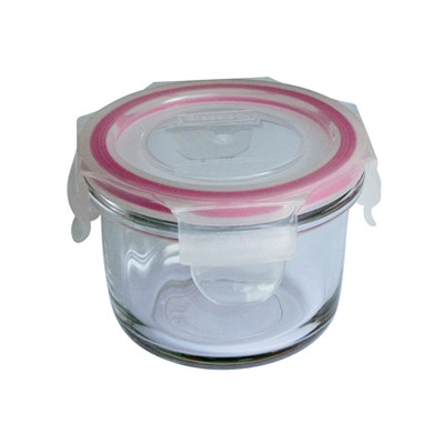 Round glass food storage container